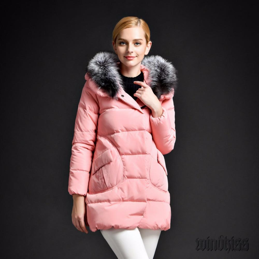 Фотография 2016 New Fashion White Duck Down Women Ultra Light Down Jacket Big Fur Collar Long Slim Thick Warm Winter Coat Women Plus Size