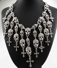 Newest Gorgeous Fashion  Necklace Skeleton skull Cross Jewelry crystal Department Statement Women Choker Necklaces Pendants(China (Mainland))