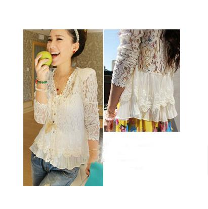 Lace Blusas Women Thin Shoulder Pads Hollow Cardigan Jacket See Blouses Shirt SK81931 - XIAMEN YM TRADING CO.,LTD store