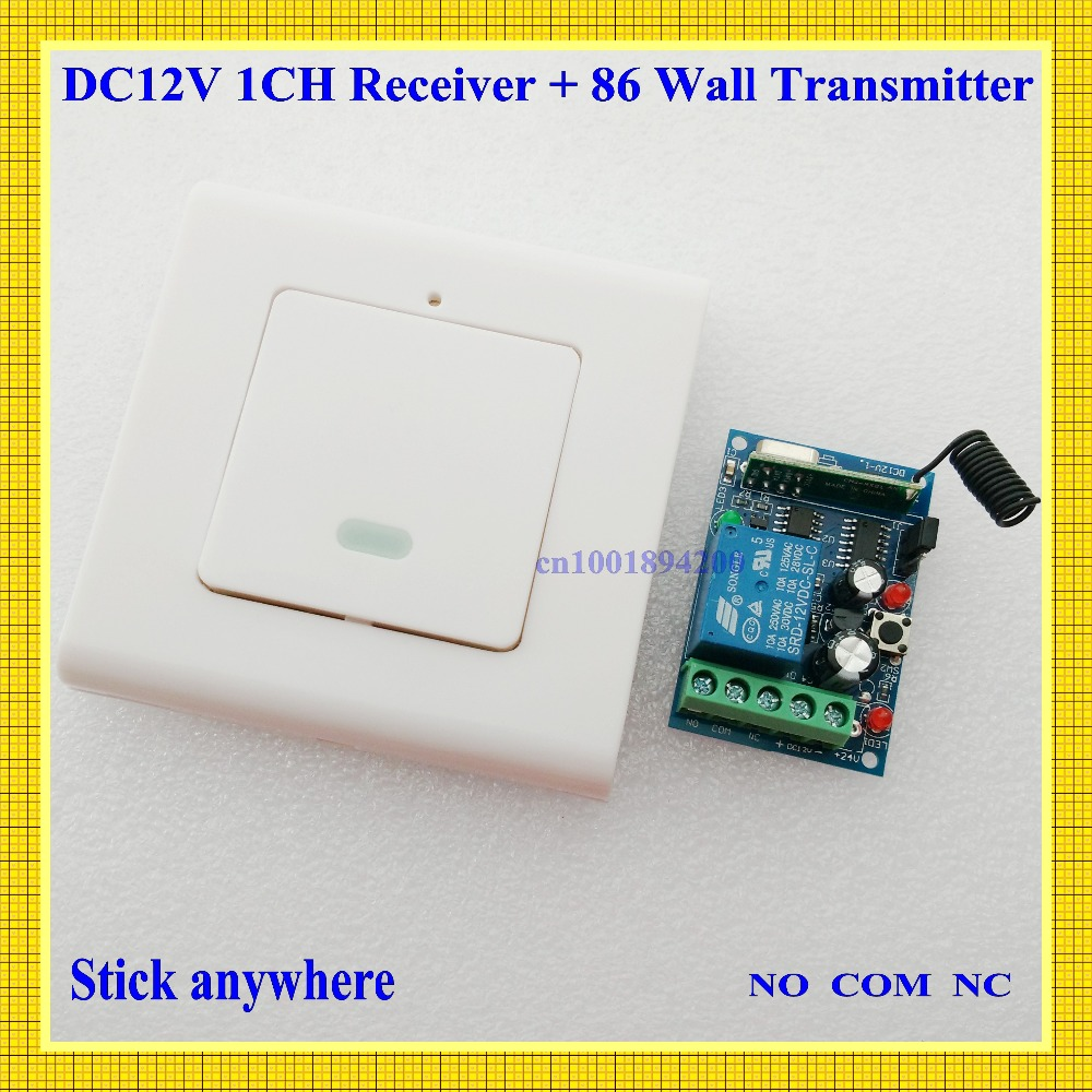 12V RKE Remote Keyless Entery System Power ON OFF Remote Control Switch Press-ON Release-OFF Mini Receiver 86 Wall Transmitter<br><br>Aliexpress