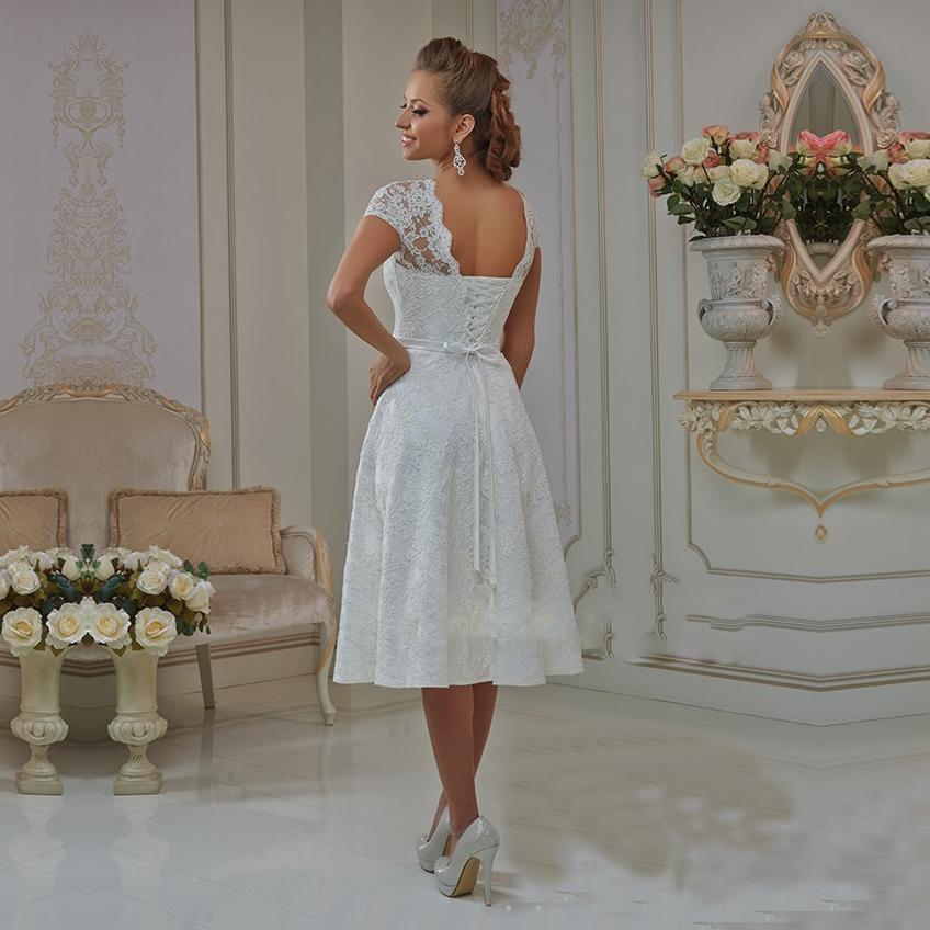 Vestidos Casamento 2015 Short Wedding Dress With Cap Sleeves A Line Tea Length Bow Sashes Lace