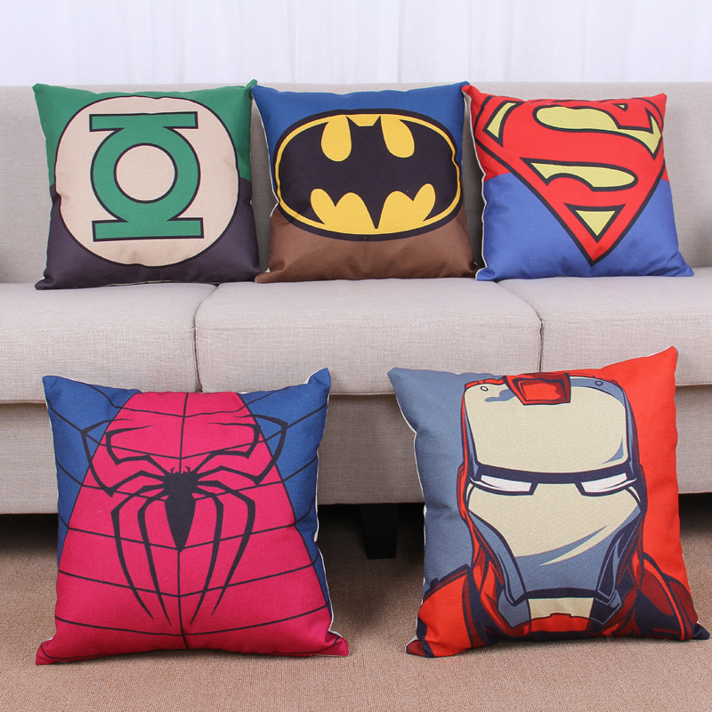 45cm Cartoon Blue Superhero Fashion Cotton Linen Fabric Pillow Hot Sale 18 Inch New Home Decor Sofa Car Cushion Office Nap HL