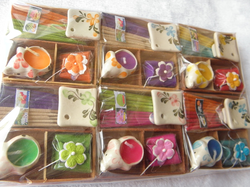 Thailand imported incense sticks candles incense cones suit wooden pagoda aromatherapy aromatize incense gift square boxes(China (Mainland))