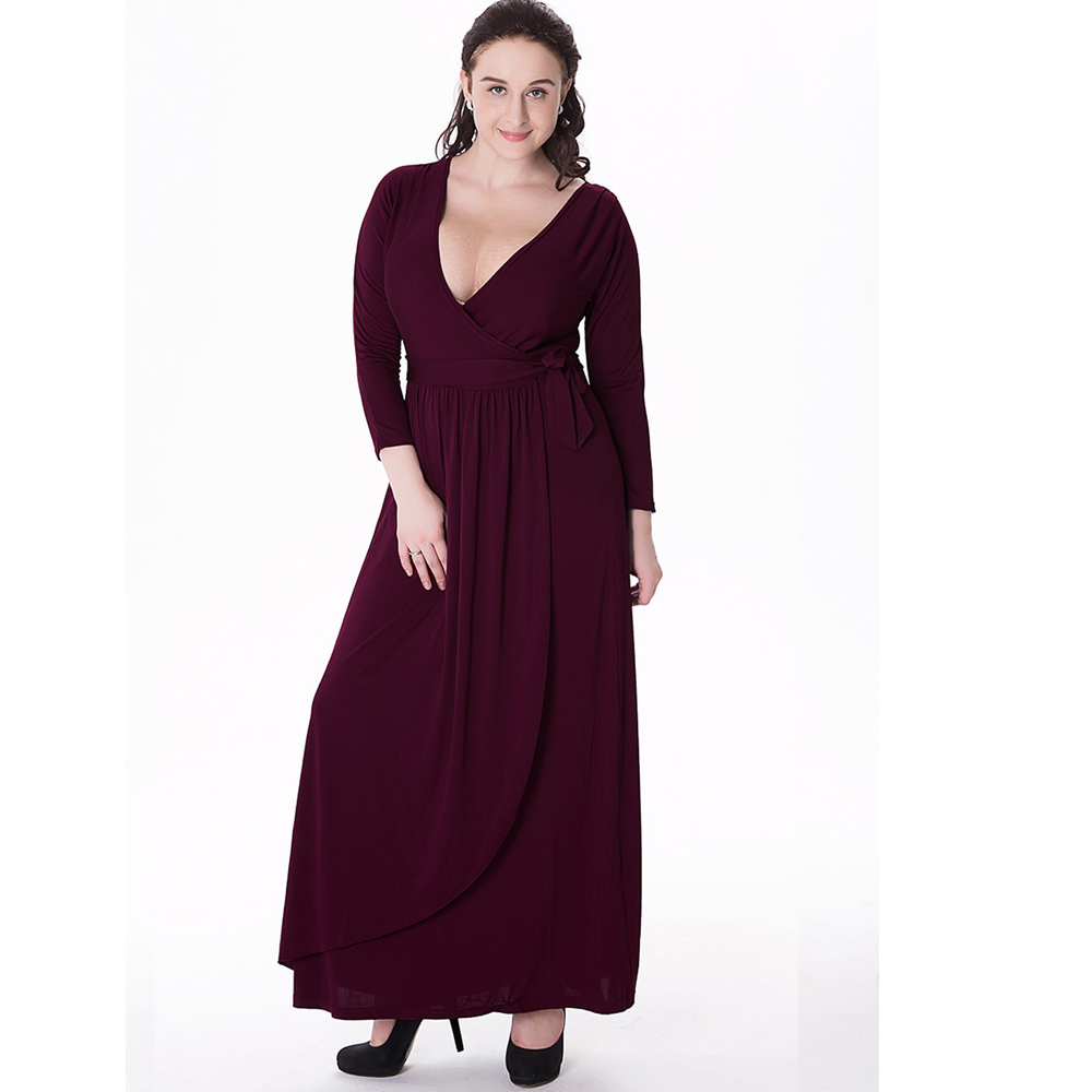 Women Evening v-Neck Knitted Long Dresses Plus Size 2017 Spring Winter New Lady Black 3/4 Sleeve Party Maxi Dress Vestidos(China (Mainland))