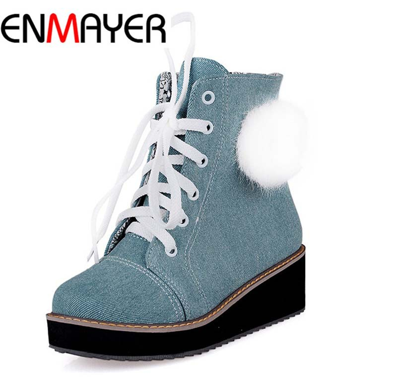ENMAYER new size 34-43 women shoes winter round toe ankle boots fashion solid less platform women boots lace up motorcycle boots<br><br>Aliexpress