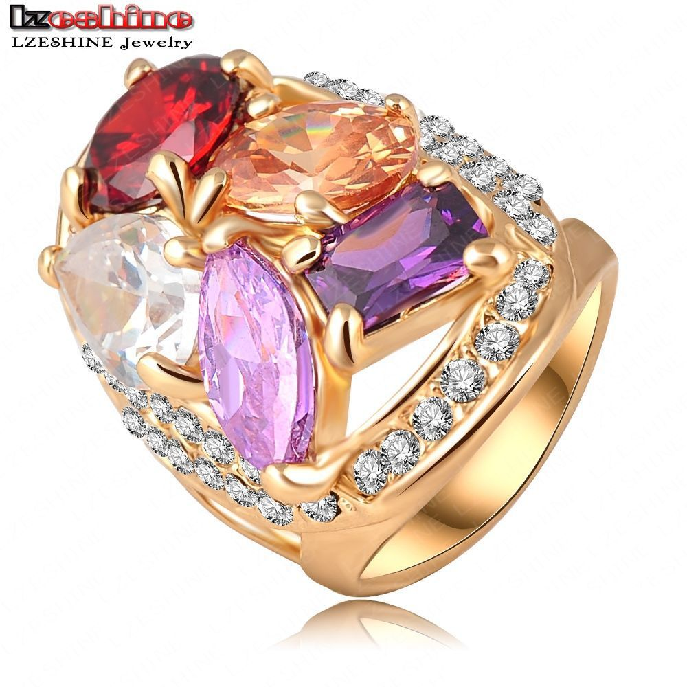 big sale 18k gold plating luxury multicolor oval shape