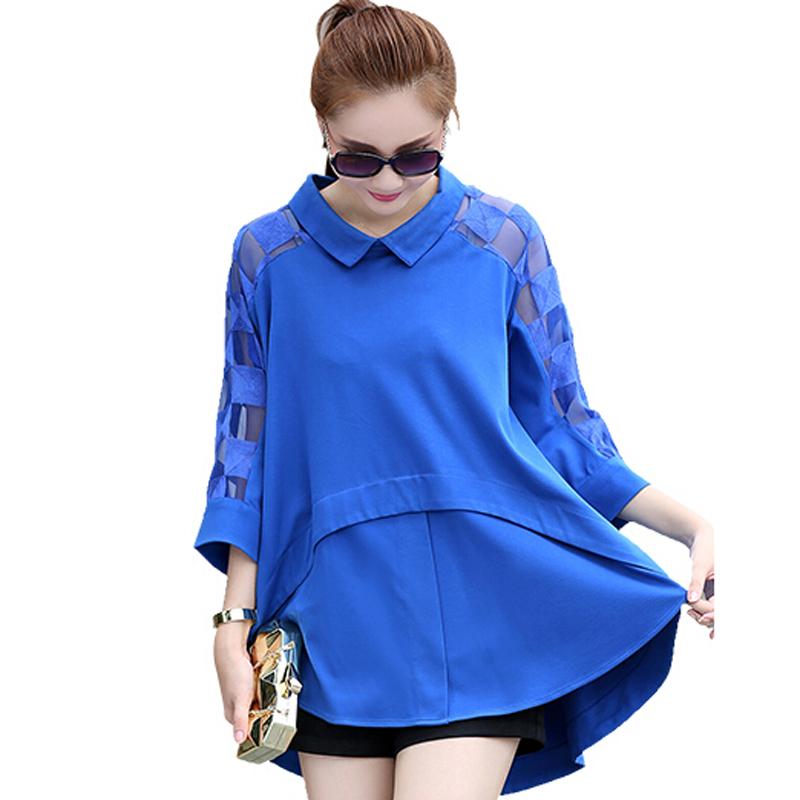 2016 Summer Style Women Blouses Fashion Plus Size Loose Tops Turn-Down Collar Chiffon Blouse Shirts Camisas Femenina - TOP Sweater store