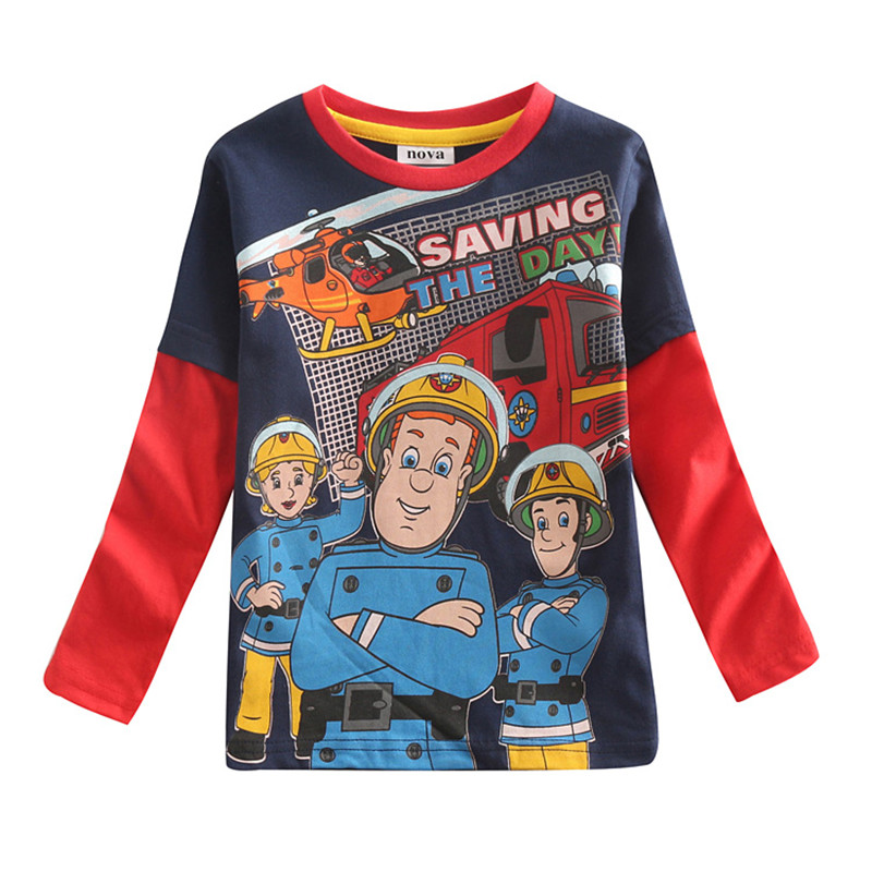 Fireman sam clothes t-shirt for boys Novatx boys brand clothing 100% cotton clothes long sleeve t shirt for boys bobo choses(China (Mainland))