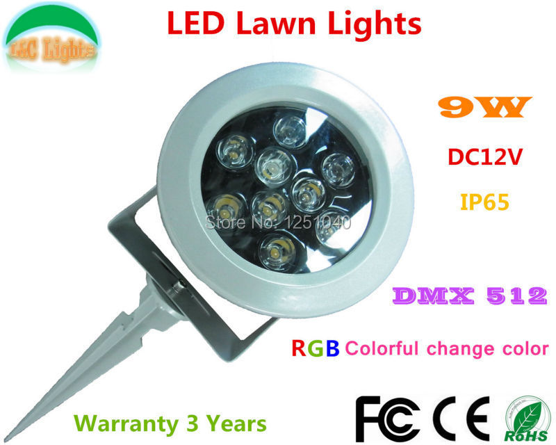 Three Channel DC 12V DMX512 Control 9W Change color LED Garden Spotlight RGB LED Flood Light IP65 Outdoor LED Lawn Light CE RoHS(China (Mainland))