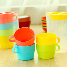 4 set/Lot Candy color cup set coffee mug cup with lid tea set zakka travel drinkware outdoor fun sports Novelty household 5144