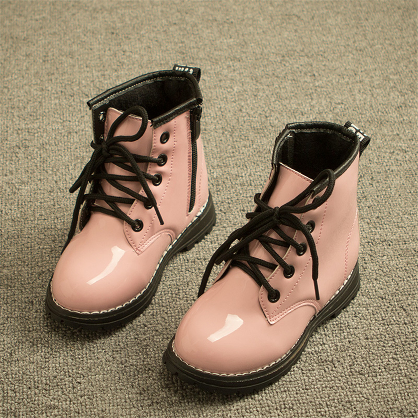 Winter new children's shoes leather fashion Martin boots boys girls high to help keep warm boots(China (Mainland))