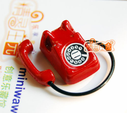 1/12 Dollhouse Miniature Vintage red Telephone Phone BJD Doll toy for children kids(China (Mainland))