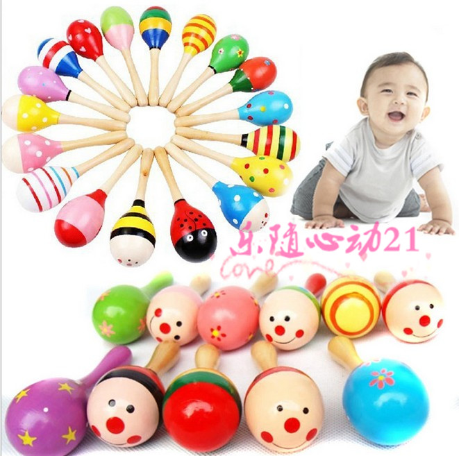 Big Small orff instruments wooden 11pcs/lot marabouts sha ling Small sand hammer baby toy rattles,(China (Mainland))