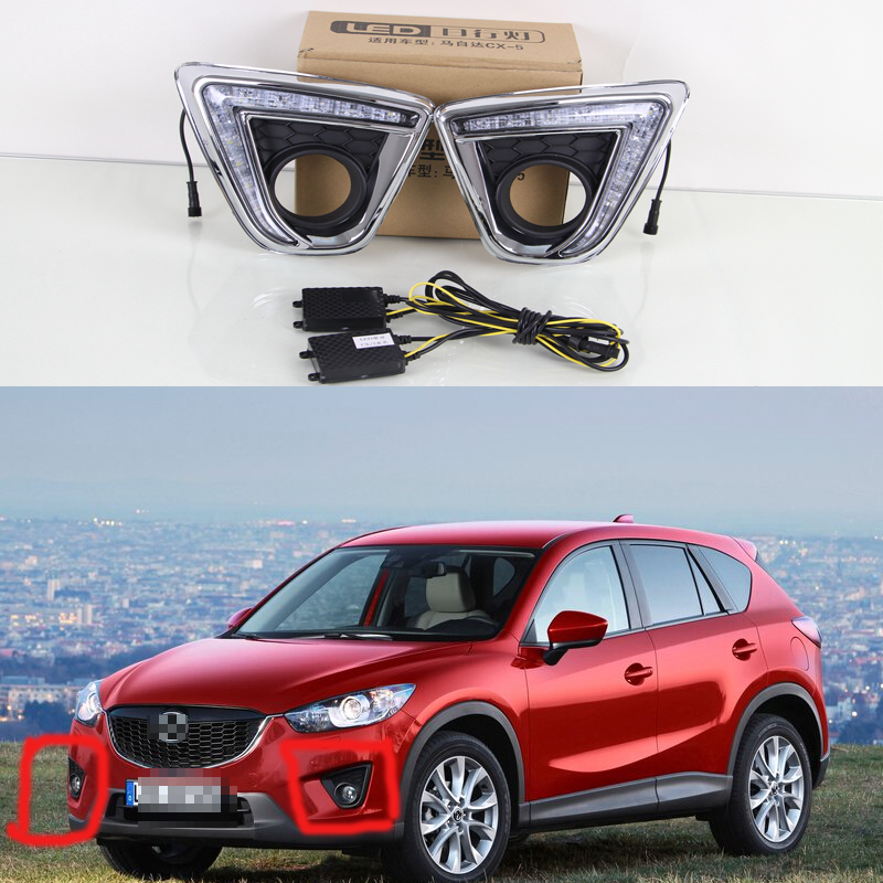 Newest 2Pcs Car Daytime Running Lights LED DRL Daylight fog lamp cover with turning light  for Mazda CX-5 2013-2015<br><br>Aliexpress