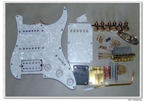 Set White Pickup pickguard bridge knobs With Gold Parts for STRAT Guitar Kits(China (Mainland))