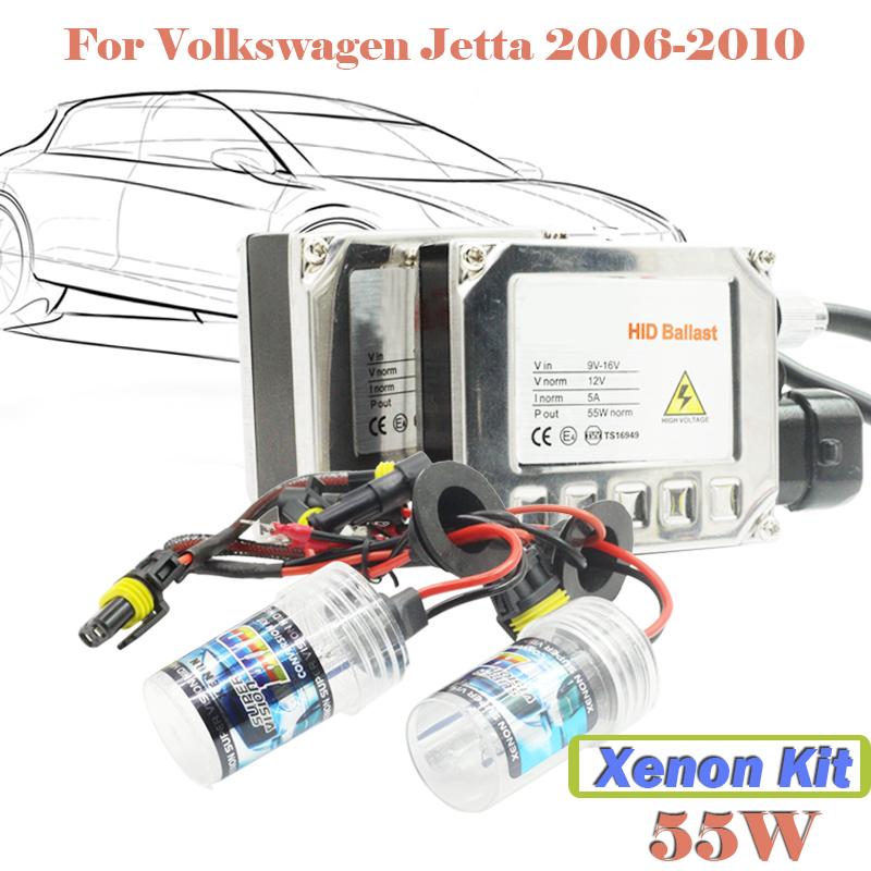 55W Xenon HID Kit Light Ballast 3000K-15000K DC For VW Jetta 2006-2010 Car Headlight Head Lamp (1 Pair Ballast + 1 Pair Bulb)(China (Mainland))