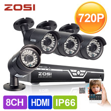 Zosi HD sistema de CCTV 8CH 720 P HDMI DVR 4 unids 1.0MP 1500TVL IR exterior de seguridad Video vigilancia sistema de cámara de 8 canales DVR Kit(China (Mainland))