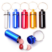 1 PCS small metal container aluminum pill box holder keychain medicine packing bottle Wholesale with Free shipping(China (Mainland))
