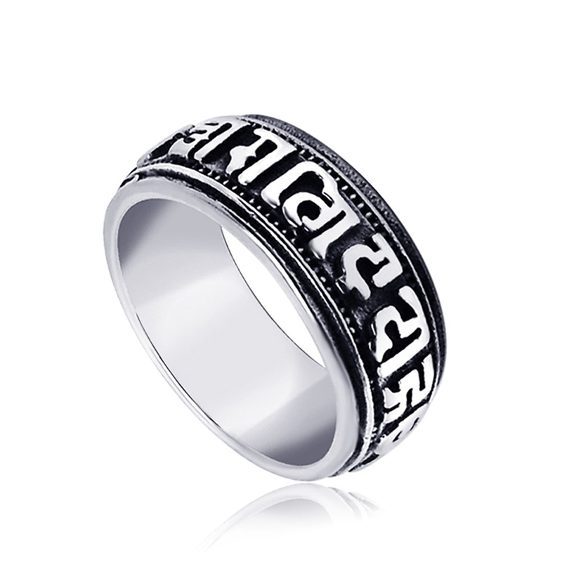 New Come Titanium Stainless Steel Rings For Men Vintage Script Punk Man Cool Gothic Rings Size 7-12 anillos para los hombres(China (Mainland))