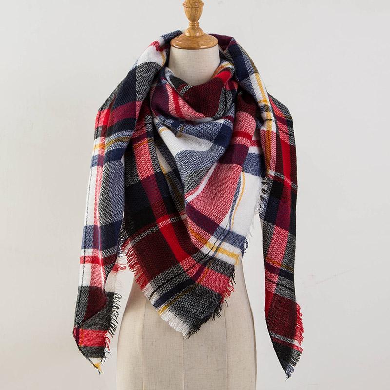 Za Winter Scarf 2017 Tartan Cashmere Scarf Women Plaid Blanket Scarf New Designer Acrylic Basic Shawls Women's Scarves and Wraps(China (Mainland))