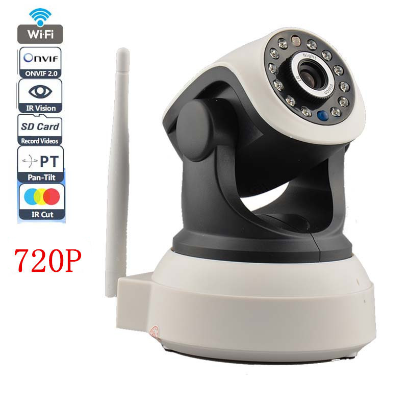 2 Way Audio Wireless IP Camera Robot With TF/Micro SD Memory Card Slot Free Iphone Android Wifi IP Camera 720P 1.0MP P2P(China (Mainland))