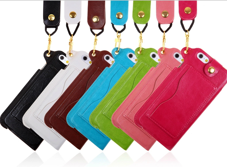 for iPhone6 may bagging five mobile phone shell holster hanging neck lanyard Card Case(China (Mainland))