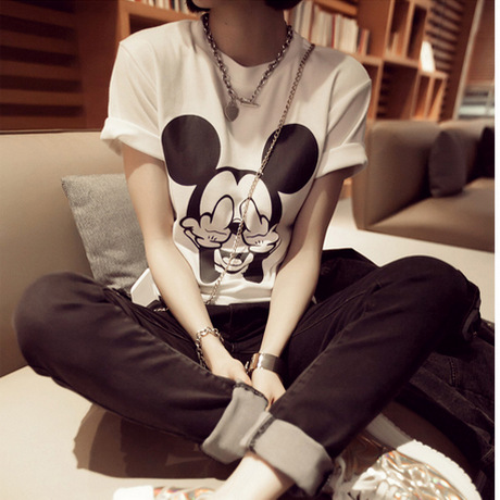 2015 Summer Women s T Shirt style New Women Fashion Short sleeved Bottoming Blends Mickey Cartoon