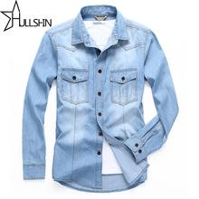 Linen Dress Shirts Brand 2016 Autumn font b Men b font Slim Fit Long Sleeve Denim