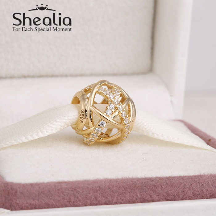 2014 New 14k real gold christmas charms pave clear zircon openwork xmas charms for women fit famous brand charm bracelets making<br>