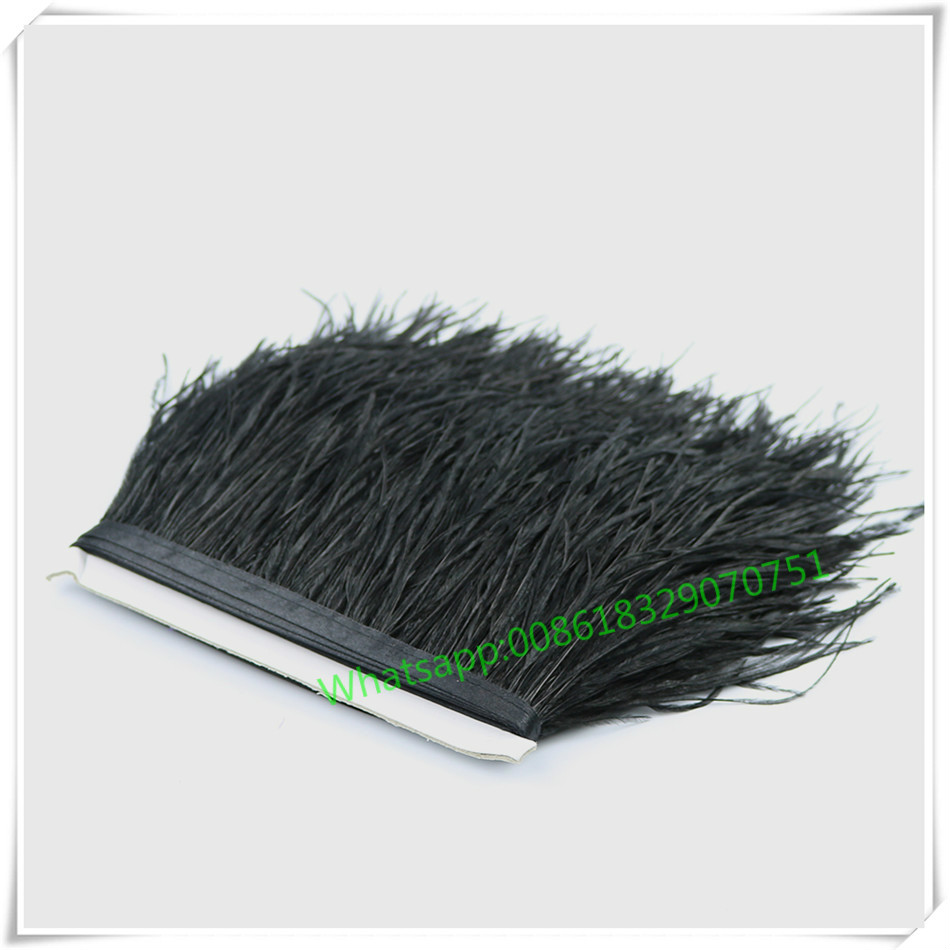 Hot Sale Real Fluffy Ostrich Feather Fringe Trims 1yard Dyed Black Natural Ostrich Feathers Trimming for Skirt Feathers Costume(China (Mainland))