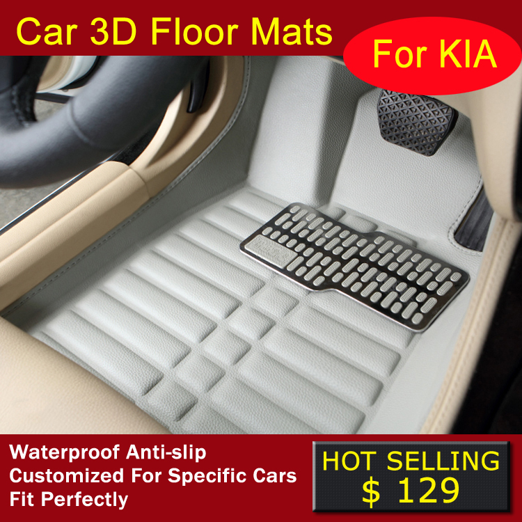 Case for KIA Carens Cerato Forte Sportage Sorento Mohave Soul RIO Car floor mats Car styling Waterproof 3D carpets car foot mats(China (Mainland))