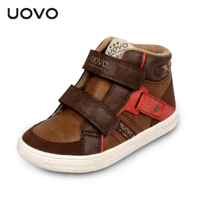 UOVO 2016 Kids Shoes Casual Sneakers Boys shoes High Top Running sport shoes Breathable PU leather Children shoes