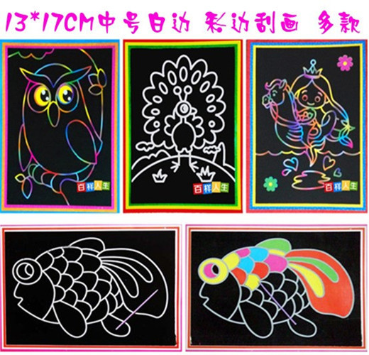 20pcs/set Child Kids Magic Color Scratch Art Doodle Pad Painting Card Educational Game Toys Early Learning Drawing Toys(China (Mainland))