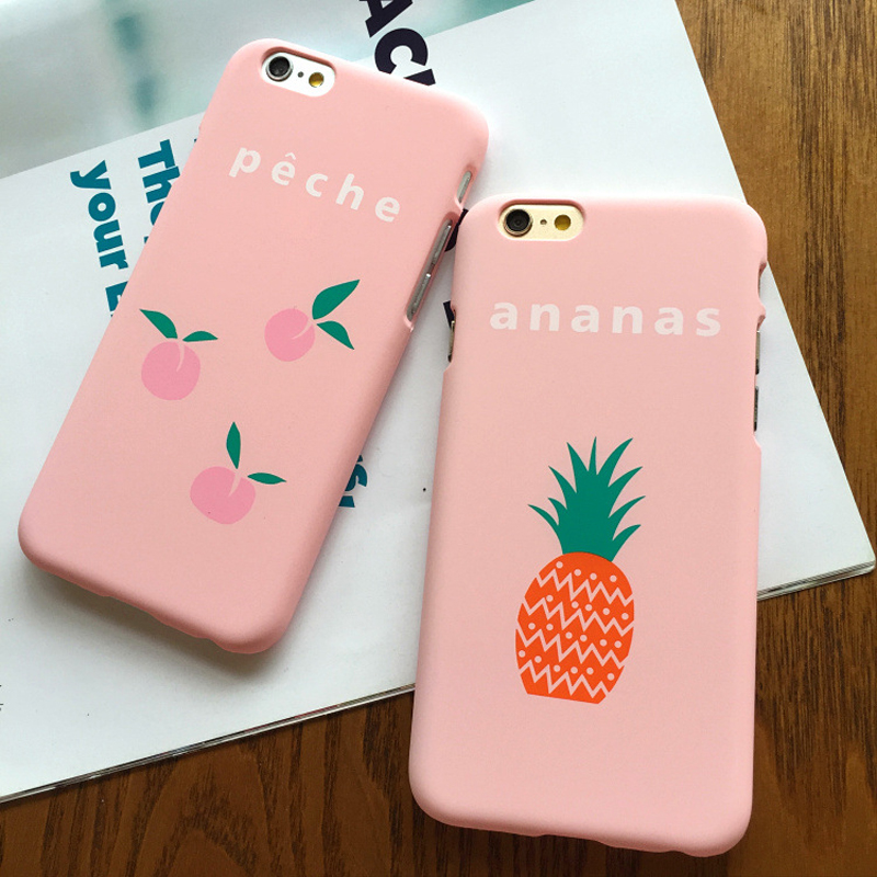 Cute Cartoon Hard Case For Apple iPhone 5SE Case For iphone 5S 6 6S Plus Lovely Pink Fruits Peach Ananas Back Cover Phone Cases(China (Mainland))