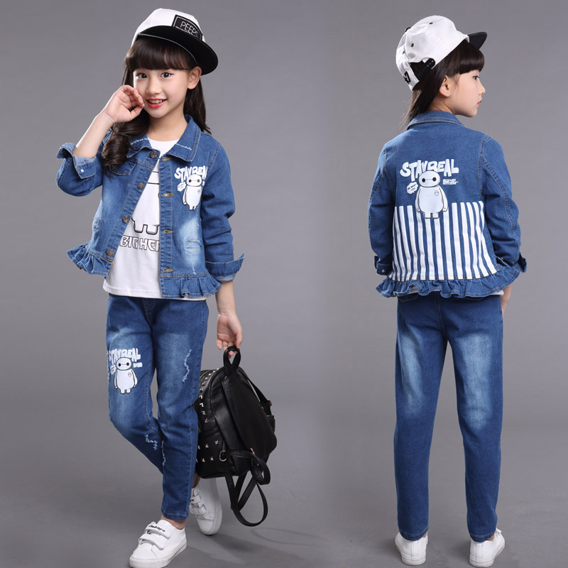 2016 princess denim clothes set with jackets and trousers autumn style toddler girls jeans suit outdoor clothing sets(China (Mainland))