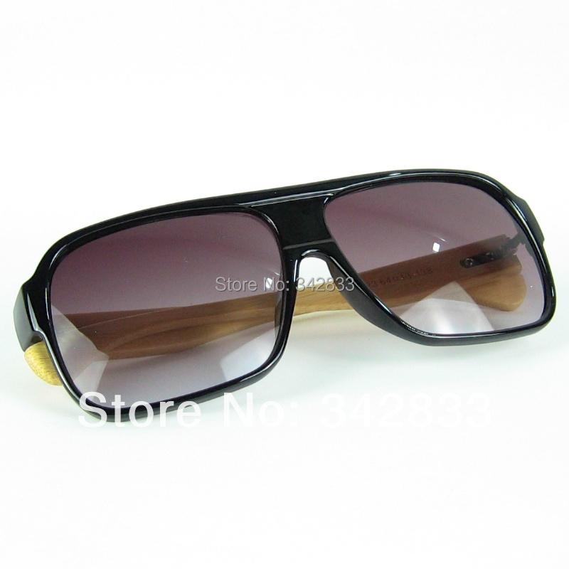 Wholesale Aviator Wooden Sunglasses Hand Made Bamboo Legs Ancient Rectangular Plastic Big Frame With UV400 Lenses