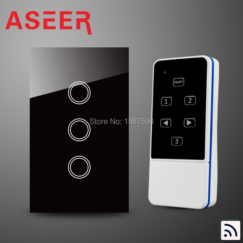 ASEER US/AU Standard 3 Gang Capacitive Touch Glass Panel Wireless Electrical Touch Light Switch with Remote Control RF 433Mhz(Hong Kong)