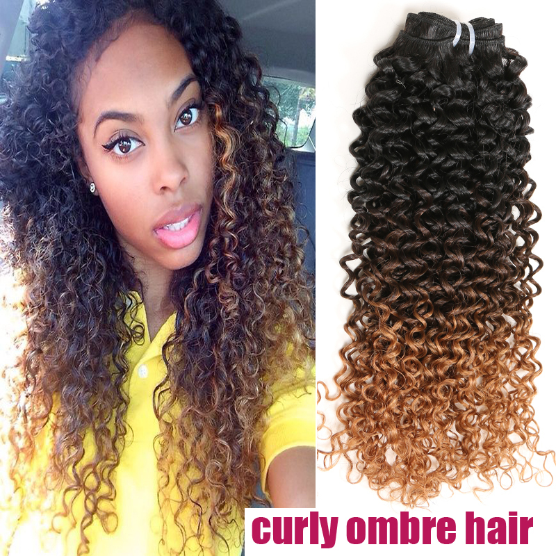 Brazilian Virgin hair 6A Afro Kinky Curly Ombre Hair Extensions 3pcs 1B#4#30 Remy Human Hair Weave Spark Hair Products OOA102(China (Mainland))