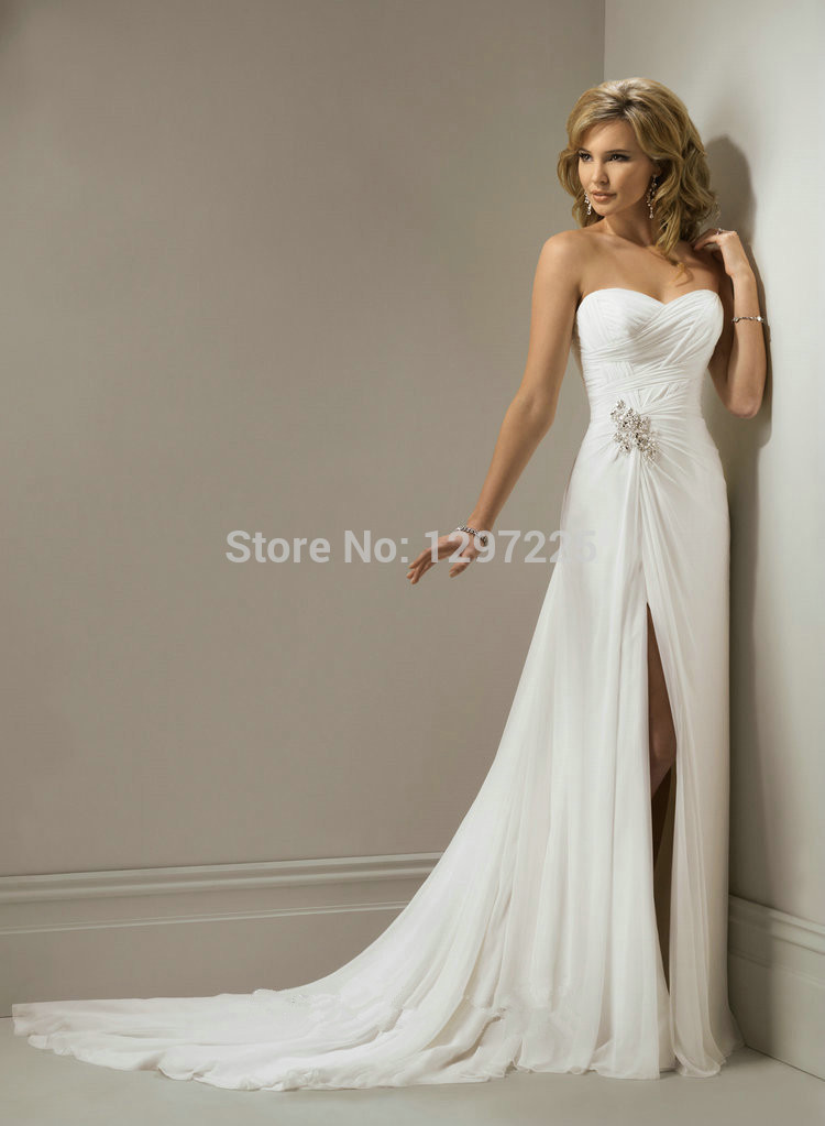 Romanticcostum made sweetheart white chiffon mermaid with for Cheap chiffon wedding dresses