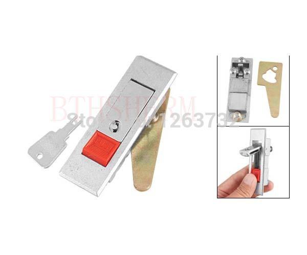Free Shipping Red Push Button Plane Type Silver Tone Metal Key Locking Cabinet Lock(China (Mainland))