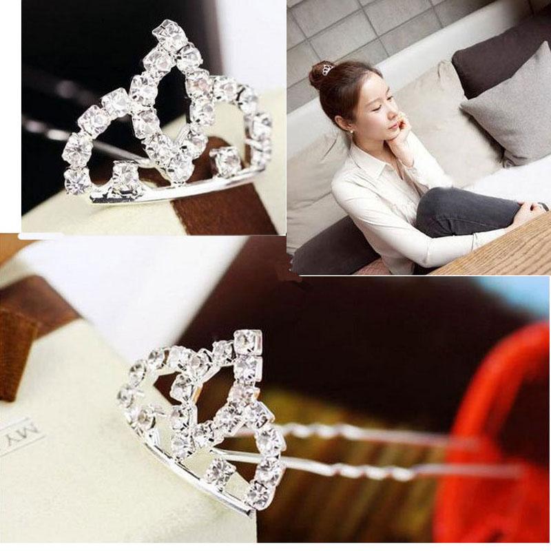 Cute Shiny Rhinestone Crystal Crown Hairpins Barrettes Princess Fashion Children Girl Hair Accessories Wholesale 12 pcs A6R24(China (Mainland))