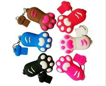 Full Capacity Gifts USB Flash Drives 8GB Cute Cat/Dog/Bear Paw Cartoon Pen Drive 2 pcs/lot Free Shipping