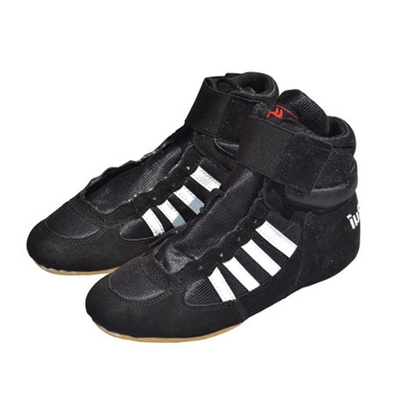Genuine VeriSign wrestling shoes red and black wrestle training shoes tendon at the end spots boxing boots #B1500