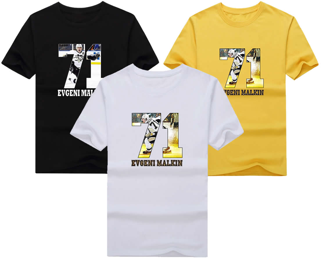 2017 #71 Evgeni Malkin T-shirt Tees Short Sleeve T SHIRT Mens Fashion Pittsburgh Penguins Russia hockeying Star W0178(China (Mainland))