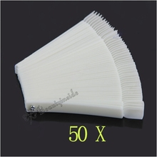 2016 Promotion Special Offer Manicure Nails 50x Fan-shaped Natural False Nail Art Tips Sticks Polish Display Free Shipping