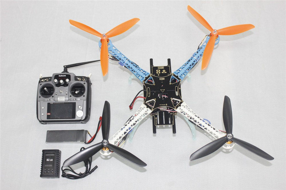 F08191-C DIY Drone Upgraded Full Kit S500-PCB 1045 3-Propeller 4axle Multi QuadCopter RTF/ARF with 10ch TX / RX 3300Mah Lipo