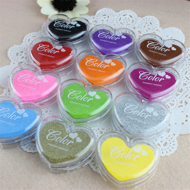 24pcs Multicolor Heart Ink Pad Draw DIY Paper Wood Fabric Rubber Stamp Scrapbook Albums Card Craft Inkpad()
