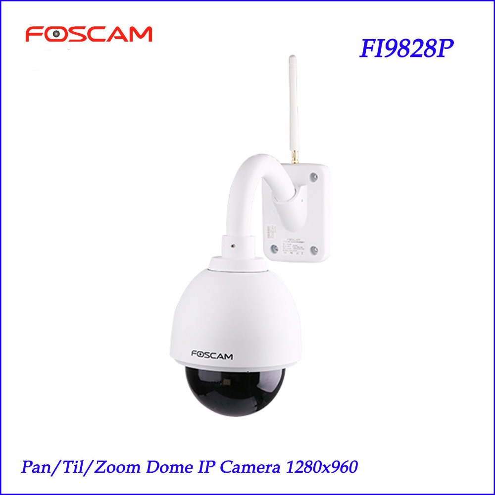 Foscam FI9828P Wireless Outdoor PTZ IP Dome Camera 3x Zoom 960P 70 degree View 60-Sec Setup Security Monitoring IP Camera(China (Mainland))