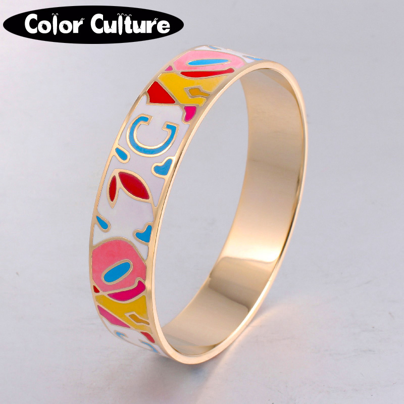 Designer Stainless Steel Vintage Bracelet Gold Plated 16mm Width Enamel Bangles for Women Mother's Holiday Gift 1605C(China (Mainland))