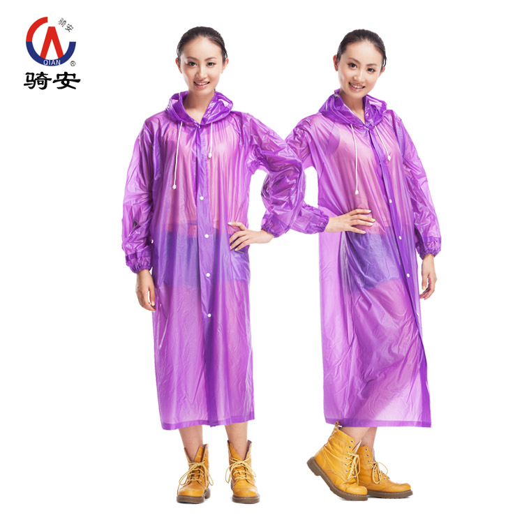 2015 New PVC translucent Environment Safety Outdoor Travel Waterproof Raincoat With Hood Over Knee Length Hot Sale(China (Mainland))